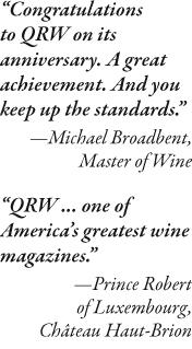 Michael Broadbent and Prince Robert of Luxembourg blurbs for QRW